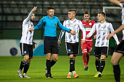 Players of Mura complainign to the referee during football match between NŠ Mura and NK Aluminij in 17th Round of Prva liga Telekom Slovenije 2019/20, on November 10, 2019 in Fazanerija, Murska Sobota, Slovenia. Photo by Blaž Weindorfer / Sportida