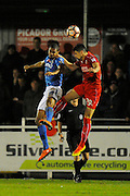 Mikael Mandron (19) of Eastleigh battles for possession with Raphael Rossi Branco (29) of Swindon Town during the The FA Cup match between Eastleigh and Swindon Town at Arena Stadium, Eastleigh, United Kingdom on 4 November 2016. Photo by Graham Hunt.