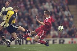 LIVERPOOL, ENGLAND - MAY 1996: Liverpool's Michael Owen in action against West Ham United during the FA Youth Cup Final 2nd Leg at Anfield. (Pic by David Rawcliffe/Propaganda)