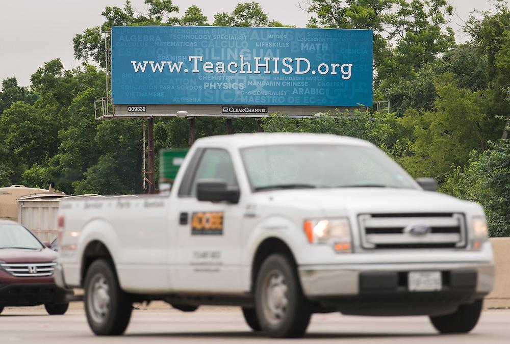 Houston ISD teacher recruiting billboard on North 610 East., May 22, 2015.