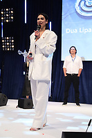 Dua Lipa accepts her award during the  O2 Silver Clef Awards 2019, Grosvenor House, London, UK, Friday 05 July 2019<br /> Photo JM Enternational