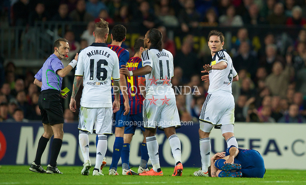 BARCELONA, SPAIN - Tuesday, April 24, 2012: Chelsea's captain Frank Lampard pleads for clemency after a late tackle on FC Barcelona's Cesc Fabregas during the UEFA Champions League Semi-Final 2nd Leg match at the Camp Nou. (Pic by David Rawcliffe/Propaganda)