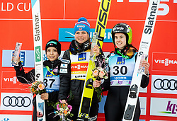 Second placed Sara Takanashi of Japan, winner Maren Lundby of Norway and third placed Ursa Bogataj of Slovenia celebrate during Trophy ceremony after the 2nd Round at Day 1 of World Cup Ski Jumping Ladies Ljubno 2019, on February 8, 2019 in Ljubno ob Savinji, Slovenia. Photo by Matic Ritonja / Sportida