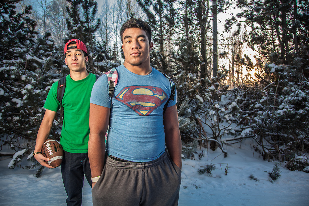 "West High School junior's Eniko Sape and John Patea on the Tony Knowels Coastal Trail, Anchorage.  ""So, you must be Superman to be out here without a coat.""  ""Yes, I would love to have super powers…we just arrived from Samoa in August…we came here for a better education and to play football.""  ""So, it's 16 degrees and you are wearing only t-shirts.  Why aren't you freezing?""  ""Super Powers!"""