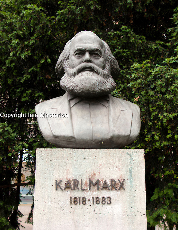 Bust of Karl Marx at Strausberger platz on Karl Marx Allee in former east Berlin Germany