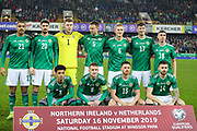 Northern Ireland team photo ahead of the UEFA European 2020 Qualifier match between Northern Ireland and Netherlands at National Football Stadium, Windsor Park, Northern Ireland on 16 November 2019.