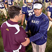 Coaches Ken Niumatalolo and Head Coach Dan Enos meet at the end of the game as  Navy defeats Central Michigan 38-37 Saturday afternoon at Marine Corps Memorial Stadium in Annapolis Maryland...Navy improves to 7-3, Navy will return home November 20 to face Arkansas State.