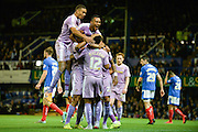 Reading players celebrate Garath McCleary's Goal during the Capital One Cup match between Portsmouth and Reading at Fratton Park, Portsmouth, England on 25 August 2015. Photo by Adam Rivers.