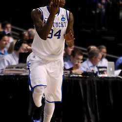 Mar 19, 2011; Tampa, FL, USA; Kentucky Wildcats guard DeAndre Liggins (34)  during the first half of the third round of the 2011 NCAA men's basketball tournament against the West Virginia Mountaineers at the St. Pete Times Forum.  Mandatory Credit: Derick E. Hingle
