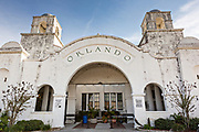 Orlando Station known as Orlando Health Amtrak station in Orlando, Florida. The Spanish Mission Revival style train station was built in 1926 to serve the Atlantic Coast Line Railroad.