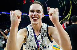 Klemen Prepelic of Slovenia celebrating at Trophy ceremony after winning during the Final basketball match between National Teams  Slovenia and Serbia at Day 18 of the FIBA EuroBasket 2017 when Slovenia became European Champions 2017, at Sinan Erdem Dome in Istanbul, Turkey on September 17, 2017. Photo by Vid Ponikvar / Sportida