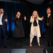 NLD/Amsterdam/20150324 -  boekpresentatie Het Grote Songfestival boek,  Jasper Taconis, Linda Wagemaker,Brigitte Nijman en David van den Tempel