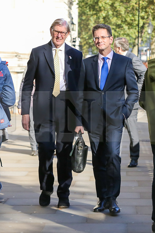 © Licensed to London News Pictures. 22/10/2019. London, UK. Members of European Research Group (ERG) SIR BILL CASH (L) and STEVE BAKER (R) are seen in Whitehall, Westminster. Photo credit: Dinendra Haria/LNP