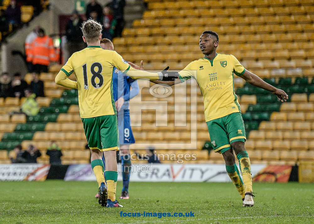 Todd Cantrell of Norwich City U23 celebrates the penalty versus Dinamo Zagreb U23 during the Premier League International Cup Quarter-Final match at Carrow Road, Norwich<br /> Picture by Matthew Usher/Focus Images Ltd +44 7902 242054<br /> 27/02/2017