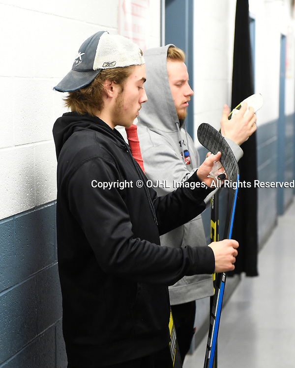 TRENTON, ON  - MAY 2,  2017: Canadian Junior Hockey League, Central Canadian Jr. &quot;A&quot; Championship. The Dudley Hewitt Cup. Game 1 between Dryden GM Ice Dogs and the Georgetown Raiders. Jack Jacome #23 and Jordan Crocker #9 of the Georgetown Raiders before the pregame warm-up.<br /> (Photo by Andy Corneau / OJHL Images)