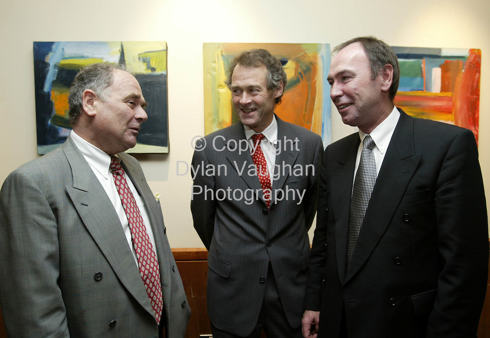 14/10/2002 Irish Independent Property.Pictured at the Society of Chartered Surveyors Annual Conference at the Kilkenny Ormonde Hotel was Paul Dudman Chartered Surveyor, Bill Nowlan, Bill Nowlan and Associates and John Oliver Costello, Costello Commercial ..Picture Dylan Vaughan