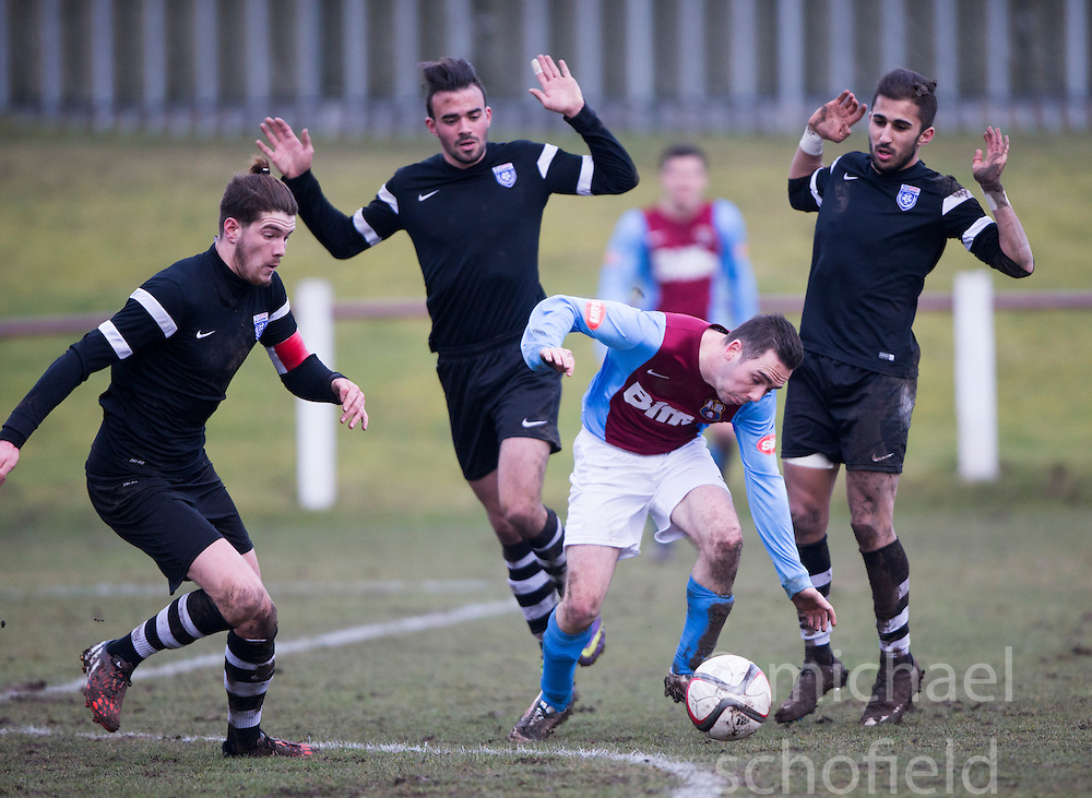 Whitehill Welfare Steven Manson.<br /> Whitehill Welfare 2 v 1 Edusport Academy, South Challenge Cup Quarter Final played 7/3/2015 at Ferguson Park, Carnethie Street, Rosewell.