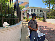 """6/6/2020 Jackson MS. <br /> The Mississippi State Highway Patrol stands guard outside the Governors mansion and hands out masks at a peaceful protest by Black Lives Matter.  She spoke of a change that is sweeping across the world, to end systematic racism and police brutality. As a black woman  in America she said how could she not be there in support.<br /> <br /> Protestors of all ages and races gathered out side the Governor Mansion after a peaceful protest by Black Lives Matter, organized by 18 yr old student Maisie Brown.   As the crowd chanted """"I can't breathe """" check his pulse.""""   and """" justice for George Floyd, in addition to """" no justice No Peace in the 90 degree heat. Photo© Suzi Altman<br /> <br /> Student Maisie Brown 18yrs old from Jackson organized a peaceful protest outside the Governors Mansion. She said there voices would be heard and her face would be seen- change is coming. The protest was in honor of George Floyd and in support of ending systematic racism and to end police brutality in Mississippi and America. The National Black Panthers Party from Tupelo Mississippi showed up outside the Governors mansion in the shadow of the State Capitol to protest police brutality. The National Black Panthers Party was their to show their support for change in Mississippi, to end systemic racism and police brutality. Protests have broken out around the world in solidarity to end white supremacy and police brutality. The Panthers showed up at the end of a peaceful protest organized by 18yr old student Maisie Brown. The brutal murder of African American George Floyd by the knee and hands of 4 former Minneapolis Minnesota police officers has sparked a cry for justice and reform around the world. Photo copyright © Suzi Altman @suzialtman #mississippi #blm #blacklivesmatter #protest #icantbreathe #georgefloyd #endracism #policebrutality #documentary #history #suzialtman #iphonography #shotoniphone #zumapress #NBPP #panthers #blackpanthers #nationalblackpantherpart"""