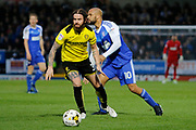 Burton Albion defender John Brayford (3) and Ipswich Town striker David McGoldrick (10) during the EFL Sky Bet Championship match between Burton Albion and Ipswich Town at the Pirelli Stadium, Burton upon Trent, England on 14 April 2017. Photo by Richard Holmes.