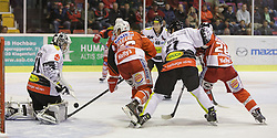 02.10.2014, Stadthalle, Klagenfurt, AUT, EBEL, EC KAC vs Dornbirner Eishockey Club, 7. Runde, im Bild David Madlaner (Dornbirner Eishockey Club, #31), Patrick Harand (EC KAC, #16), Garnet Exelby (Dornbirner Eishockey Club, #27), Martin Schumnig (EC KAC, #28) Adam Miller (Dornbirner Eishockey Club, #40) // during the Erste Bank Icehockey League 7th round match betweeen EC KAC and Dornbirner Eishockey Club at the City Hall in Klagenfurt, Austria on 2014/10/02. EXPA Pictures © 2014, PhotoCredit: EXPA/ Gert Steinthaler
