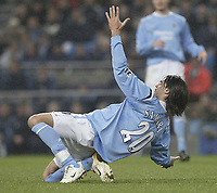 Photo: Aidan Ellis.<br /> Manchester City v Charlton Athletic. The Barclays Premiership. 12/02/2006.<br /> City's Georgis Samaras falls down as if he has been shot