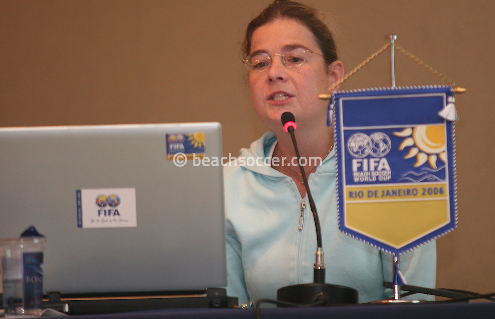 Football - FIFA Beach Soccer World Cup 2006 - Team Coordination Meeting for Group Stage - Rio de Janeiro - Brazil 01/11/2006 - Delia Fischer speaks during the meeting -<br /> Event Title Boad Mandatory Credit: FIFA / Ricardo Moraes