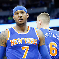 08 March 2016: New York Knicks forward Carmelo Anthony (7) is seen next to New York Knicks forward Kristaps Porzingis (6)  during the Denver Nuggets 110-94 victory over the New York Knicks, at the Pepsi Center, Denver, Colorado, USA.