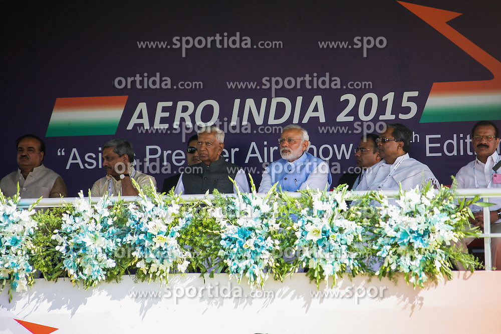 Indian Prime Minister Narendra Modi (4th L, front) attends the inauguration of the Aero India 2015 in Air Force Station Yelahanka of Bangalore, India, Feb. 18, 2015. The biennial air show this year attracted dealers from 49 countries, showcasing their aero-related products in military and civilian fields. EXPA Pictures © 2015, PhotoCredit: EXPA/ Photoshot/ Zheng Huansong<br /> <br /> *****ATTENTION - for AUT, SLO, CRO, SRB, BIH, MAZ only*****