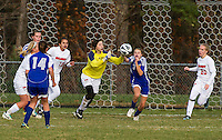 Belmont goalie Kaitlyn Berry makes a save against Gilford during NHIAA first round Division III tournament action at Belmont High School Wednesday afternoon.   (Karen Bobotas/for the Laconia Daily Sun)
