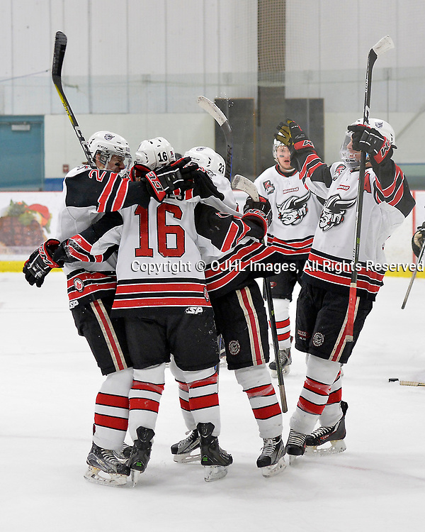 GEORGETOWN, ON  - APR 18,  2017: Ontario Junior Hockey League, Championship Series.  Georgetown Raiders vs the Trenton Golden Hawks in Game 3 of the Buckland Cup Final.  Jack Hughes #16 of the Georgetown Raiders celebrates the goal with teammates during the first period. <br /> (Photo by Shawn Muir / OJHL Images)