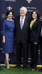 04 October 2011. New Orleans, Louisiana, USA.  <br /> NFL's New Orleans Saints announce a multi million dollar deal with Mercedes-Benz for naming rights on the Louisiana Superdome. Now the Mercedes-Benz Superdome. L/R; Gayle Benson (wife of Tom), Saints owner Tom Benson, grand daughter, part owner and Saints VP Rita Benson Leblanc.<br /> Photos; Charlie Varley/varleypix.com