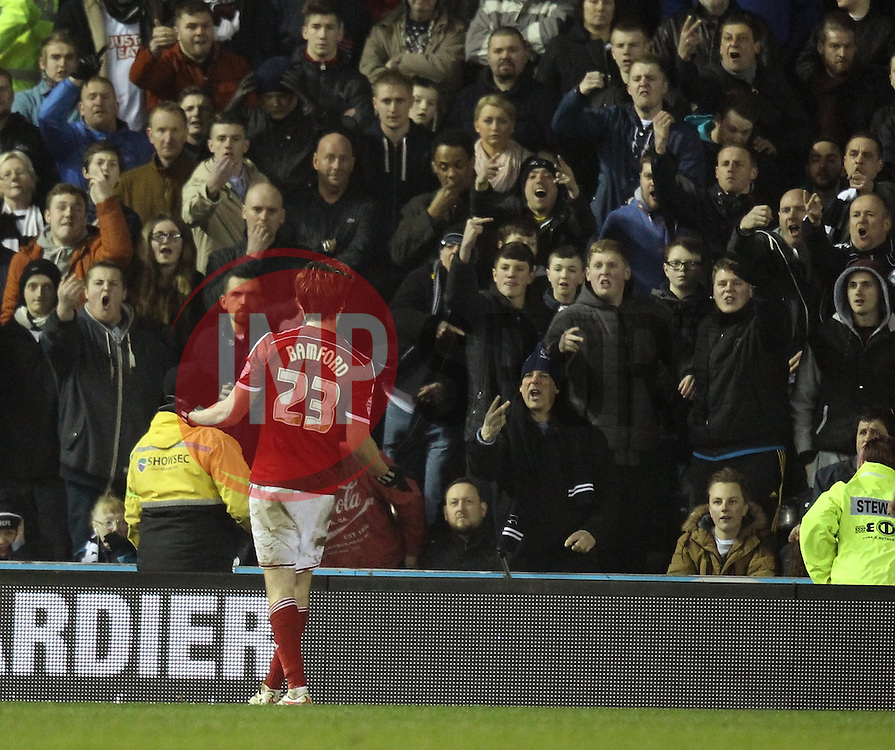 Middlesbrough's Patrick Bamford celebrates in front of the Derby County fans - Photo mandatory by-line: Robbie Stephenson/JMP - Mobile: 07966 386802 - 17/03/2015 - SPORT - Football - Derby - iPro Stadium - Derby County v Middlesbrough - Sky Bet Championship