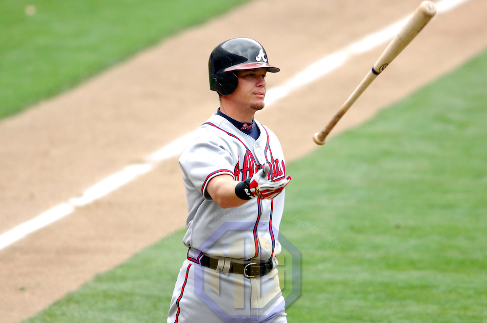 17 May 2006:   Atlanta Braves third baseman Chipper Jones (10) tosses his bat after striking out to end the 8th inning against Washington Nationals pitcher Jesus Colome. The Nationals defeated the Braves 4-3 at RFK Stadium in Washington, D.C.