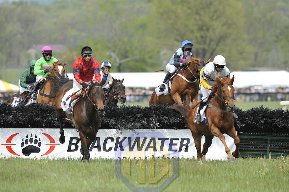 03 May 2008:  William Dowling aboard Mark The Shark (R) leads Richard McWade aboard Four Schools (L) and the other horses over a jump in the 4th race of the 83rd running of the Virginia Gold Cup Races on October 20, 2007 at the Great Meadow in The Plains, Va..