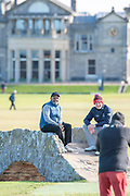 Stephen Gallacher (right) and Shantanu Narayen pose for a picture on the Swilken Bridge on the 18th hole, during the Alfred Dunhill Links Championships 2018 at St Andrews, West Sands, Scotland on 6 October 2018.