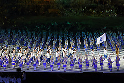JAKARTA, Aug. 18, 2018  Delegation of the Democratic People's Republic of Korea (DPRK) and South Korea march under a unified flag of the Korean Peninsula during the opening ceremony of the 18th Asian Games at Gelora Bung Karno (GBK) Main Stadium in Jakarta, Indonesia, Aug. 18, 2018. (Credit Image: © Zhu Wei/Xinhua via ZUMA Wire)