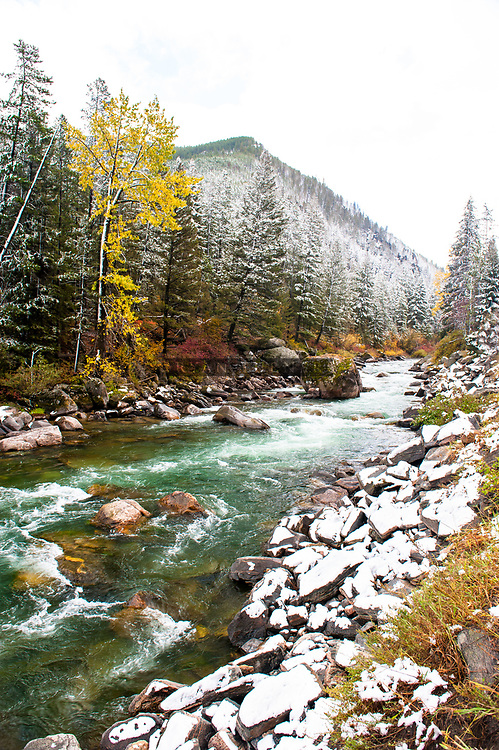 The Gallatin River and House Rock with a dusting of snow.  Near Big Sky, Montana in the fall.  Limited Edition - 150