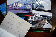 Andrew showing his pictures and train spotter notebook from the mid-seventies