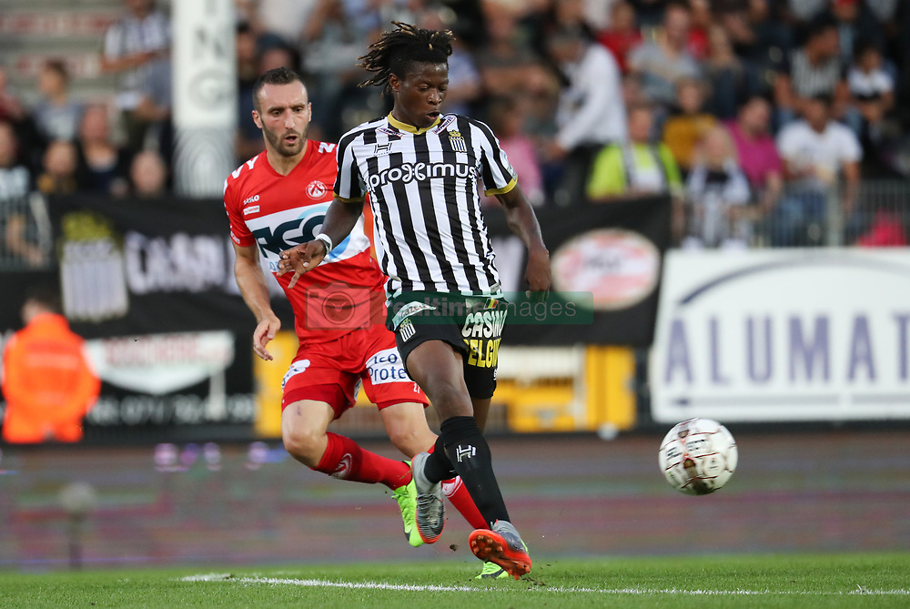 July 29, 2017 - Charleroi, BELGIUM - Kortrijk's Idir Ouali and Charleroi's Mario Fortuna fight for the ball during the Jupiler Pro League match between Sporting Charleroi and KV Kortrijk, in Charleroi, Saturday 29 July 2017, on the first day of the Jupiler Pro League, the Belgian soccer championship season 2017-2018. BELGA PHOTO VIRGINIE LEFOUR (Credit Image: © Virginie Lefour/Belga via ZUMA Press)