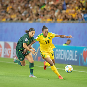 GRENOBLE, FRANCE June 18.  Allyson Swaby #17 of Jamaica challenged by Sam Kerr #20 of Australia during the Jamaica V Australia, Group C match at the FIFA Women's World Cup at Stade des Alpes on June 18th 2019 in Grenoble, France. (Photo by Tim Clayton/Corbis via Getty Images)