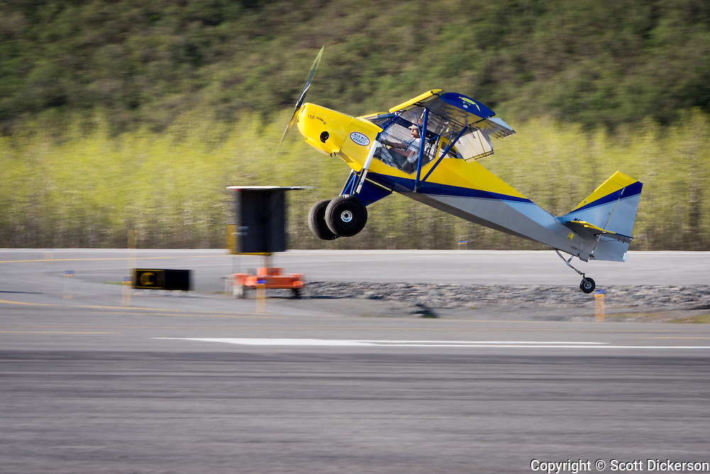 Steve Henry of Wild West Aircraft competing in the short take off and landing competition in his Just Aircraft SuperStol. Valdez fly-in & Air Show in Valdez, Alaska. May 10 and 11, 2014. Photos by Scott Dickerson.