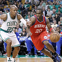 21 May 2012: Philadelphia Sixers guard Jodie Meeks (20) drives past Boston Celtics shooting guard Ray Allen (20) during the Boston Celtics 101-85 victory over the Philadelphia Sixer, in Game 5 of the Eastern Conference semifinals playoff series, at the TD Banknorth Garden, Boston, Massachusetts, USA.