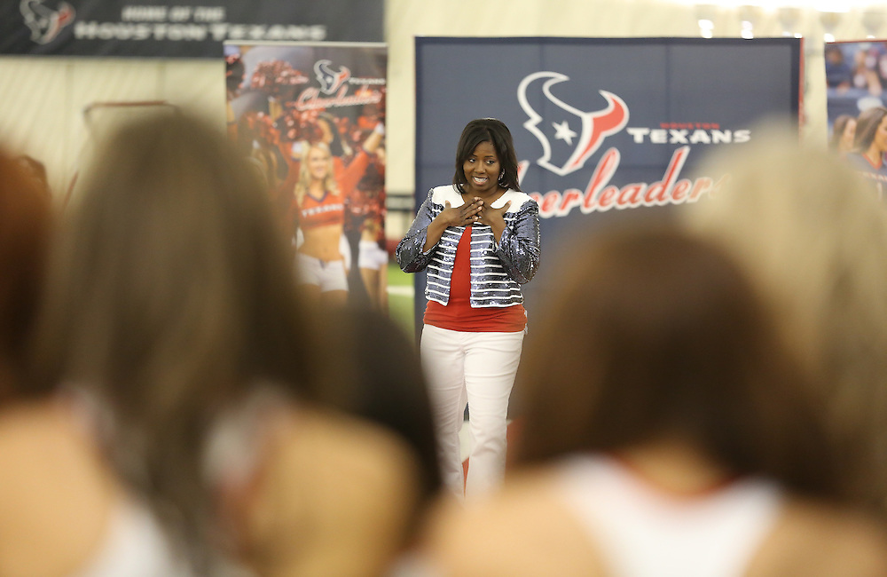 4/16/2014: Houston Texans Cheerleader Director Alto Gray talks to the fifty girls before the announcement.<br /> Fifty girls showed up on April 16, 2014 at the Houston Texans practice facility in Houston, Texas to see which 35 girls made the 2014-2015, Houston Texans Cheerleading Team.