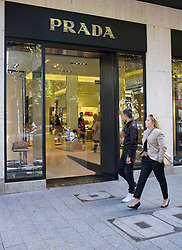 Prada upmarket fashion boutique shop on Konigsallee in Dusseldorf in Germany
