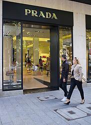 Prada upmarket fashion boutique shop on Konigsallee in Dusseldorf in Germany