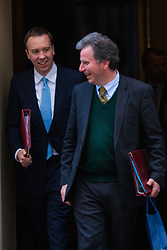 London, March 24th 2015. Members of the Cabinet gather at Downing street for their weekly meeting. PICTURED: Oliver Letwin (R) and Matthew Hancock, Minister of State for Energy, Minister of State for Business and Enterprise.