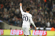 Tottenham Hostpur midfielder Deli Alli (20) waving to crowd after scoring during the Champions League match between Tottenham Hotspur and Real Madrid at Wembley Stadium, London, England on 1 November 2017. Photo by Matthew Redman.