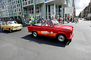 GERMANY - BERLIJN - Tourists in a Trabant on Trabi-Safari near Checkpoint Charlie.  PHOTO GERRIT DE HEUS