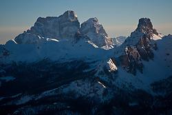 22.01.2011, Tofana, Cortina d Ampezzo, ITA, FIS World Cup Ski Alpin, Lady, Cortina, Abfahrt, im Bild die Cinque Torri (deutsch: fünf Türme) sind eine bis zu 2.361 m s.l.m. hohe Felsformation in den Dolomiten an der Strecke zwischen dem Falzaregopass und Cortina d'Ampezzo. during FIS Ski Worldcup ladies Downhill at pista Tofana in Cortina d Ampezzo, Italy on 22/1/2011. EXPA Pictures © 2011, PhotoCredit: EXPA/ J. Groder