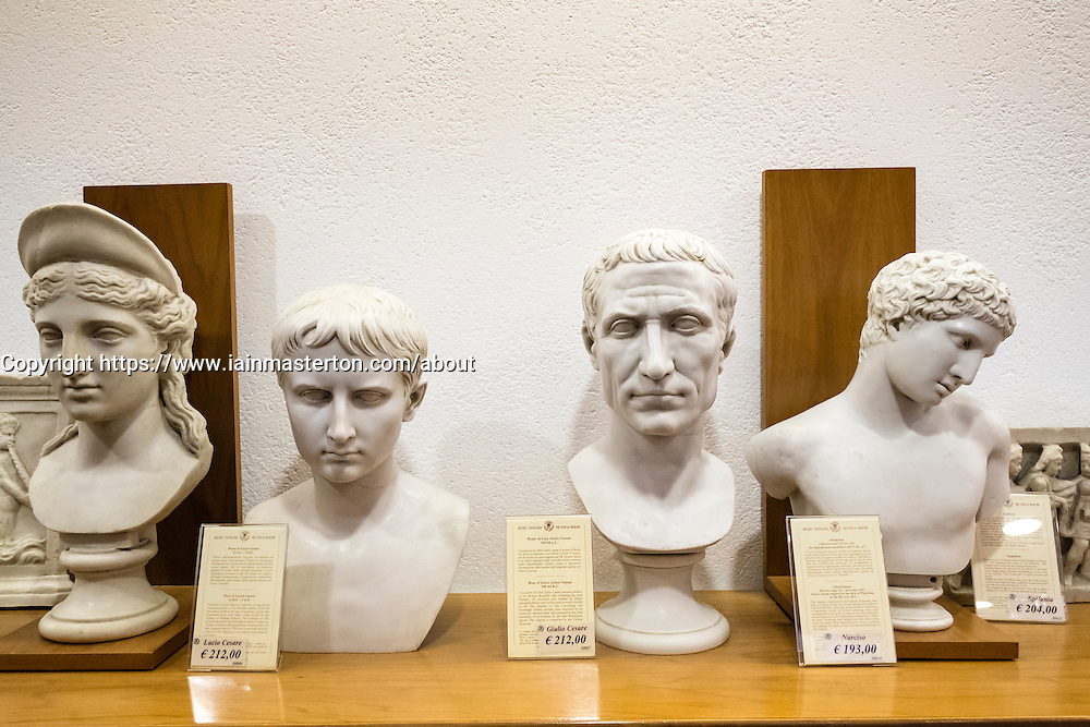 Reproduction Roman busts for sale in museum shop at the Vatican Museum in Rome, Italy